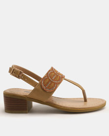 Candy Bead Detail Thong Heeled Sandals Tan
