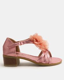 Candy Shimmer Flower Heeled Sandals Pink