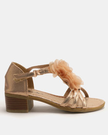 Candy Shimmer Flower Heeled Sandals Champagne