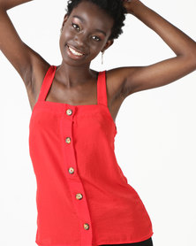 Utopia Button Through Cami Red