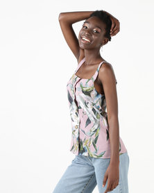 Utopia Button Through Cami Green Floral