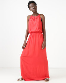 Utopia Viscose Grecian Maxi Dress Red