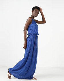 Utopia Viscose Grecian Maxi Dress Cobalt