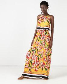 Utopia Grecian Maxi Dress Mustard Floral