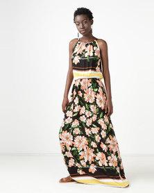 Utopia Black Floral Grecian Maxi Dress