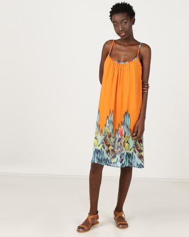 Utopia Border Print A-line Dress Blue/Orange