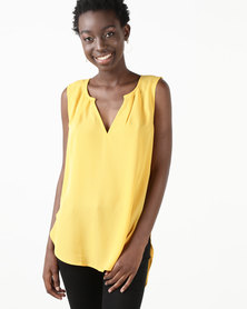 Utopia Georgette Henley Blouse Yellow