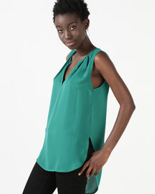 Utopia Georgette Henley Blouse Emerald Green