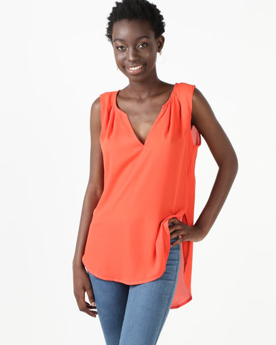 Utopia Georgette Henley Blouse Spicy Orange