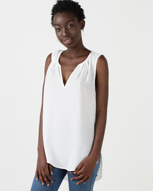 Utopia Georgette Henley Blouse Ivory