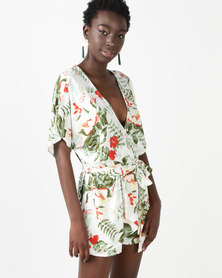 Utopia Floral Tie Front Playsuit Ivory