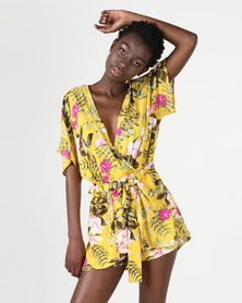 Utopia Print Tie Front Playsuit Yellow