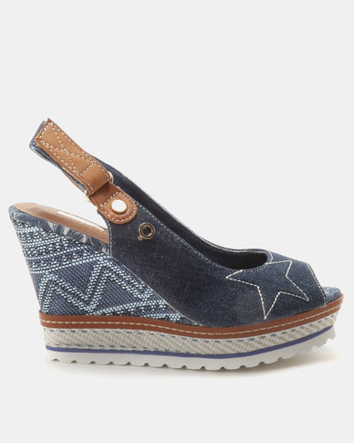 Bronx Women Sameera Wedges Blue