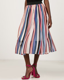 Utopia Chiffon Pleated Skirt Multi Striped