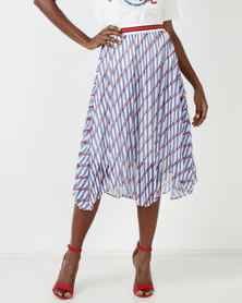 Utopia Pleated Skirt Blue Printed