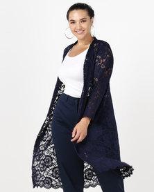Queenspark Plus Longer Length Lace Knit Jacket Navy