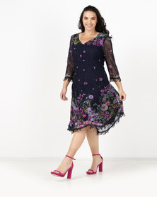 Queenspark Plus New Border Floral Fit & Flare Knit Dress Navy