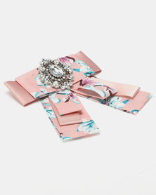 Queenspark Flower Print Brooch Soft Pink