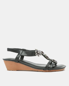 Queenspark Flower Pearls on Double Strap on Comfort Wedge Black