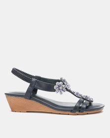 Queenspark Flower Pearls on Double Strap on Comfort Wedges Navy