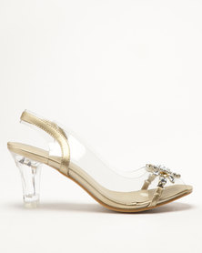 Queenspark Glass Heel Sandals With Vinyl Sling And Big Flower Gold