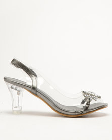 Queenspark Glass Heel Sandals With Vinyl Sling And Big Flower Pewter