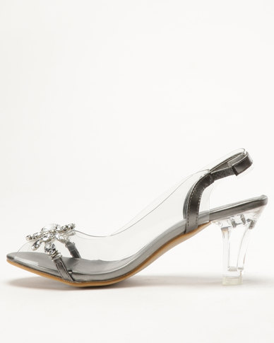 213ad0f7563 Queenspark Glass Heel Sandals With Vinyl Sling And Big Flower Pewter ...