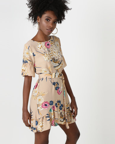 Utopia Tunic Dress With Frill Hem Nude Floral