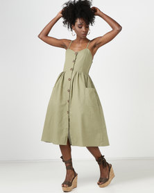 Utopia Button Through Midi Dress Olive