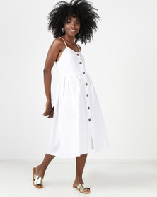 Utopia Button Through Midi Dress White