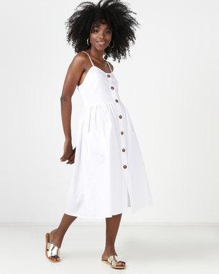 Utopia Button Through Midi Dress White