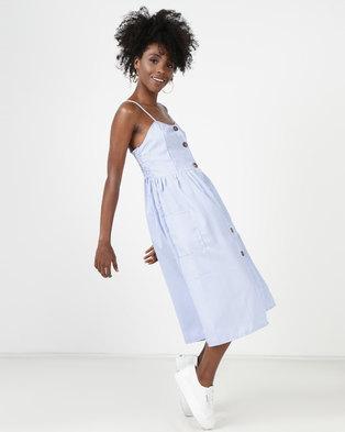 Utopia Stripe Button Through Midi Dress Blue/White