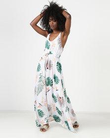 Utopia Maxi Dress White/Orange Feather Print