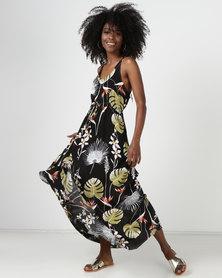 Utopia Leaf Print Maxi Dress Black