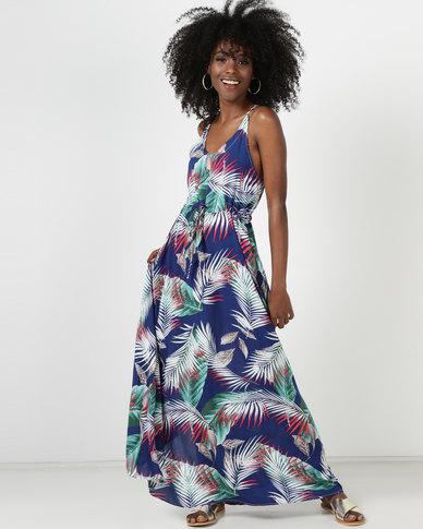 Utopia Leaf Print Maxi Dress Navy