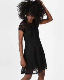 Utopia Lace Fit And Flare Dress Black