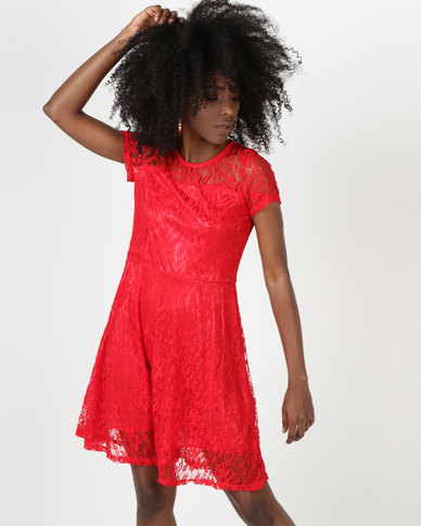Utopia Lace Fit And Flare Dress Red