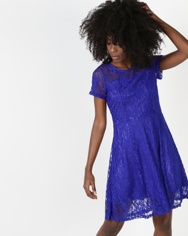 Utopia Lace Fit And Flare Dress Cobalt
