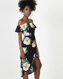 Utopia Floral Wrap Bardot Dress Navy