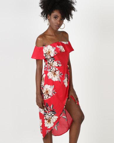 Utopia Floral Wrap Bardot Dress Red