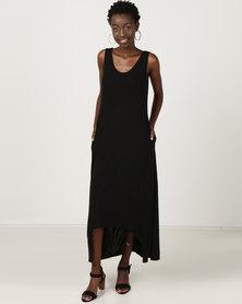 Utopia Dipped Hem Maxi Knit Dress Black