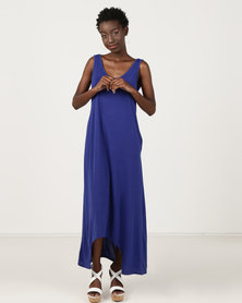 Utopia Dipped Hem Maxi Knit Dress Cobalt