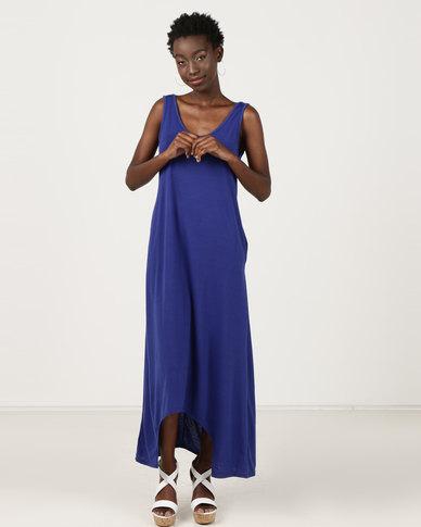 Utopia Dipped Hem Maxi Knit Dress Cobalt