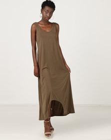 Utopia Dipped Hem Maxi Knit Dress Olive