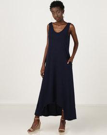 Utopia Dipped Hem Maxi Knit Dress Navy