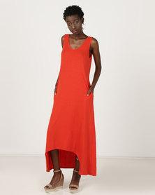Utopia Dipped Hem Maxi Knit Dress Rust