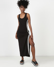 Utopia Side Stripe Maxi Knit Dress Black