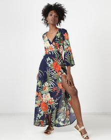 Utopia Tropical Print Maxi Wrap Dress Blue
