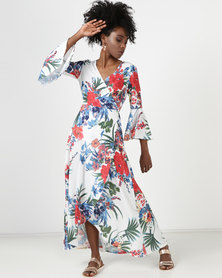 Utopia Tropical Print Maxi Wrap Dress Milk