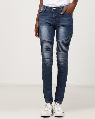 Utopia Moto Skinny Leg Jeans Blue